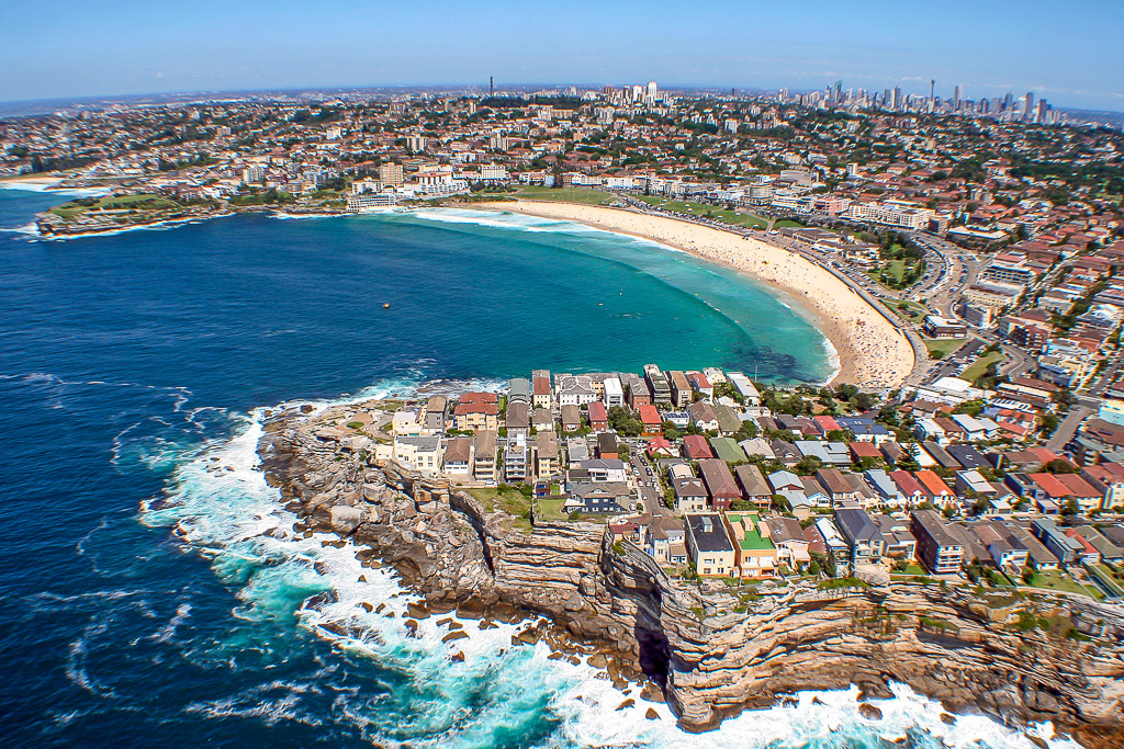see sydney beaches and opera house from scenic helicopter