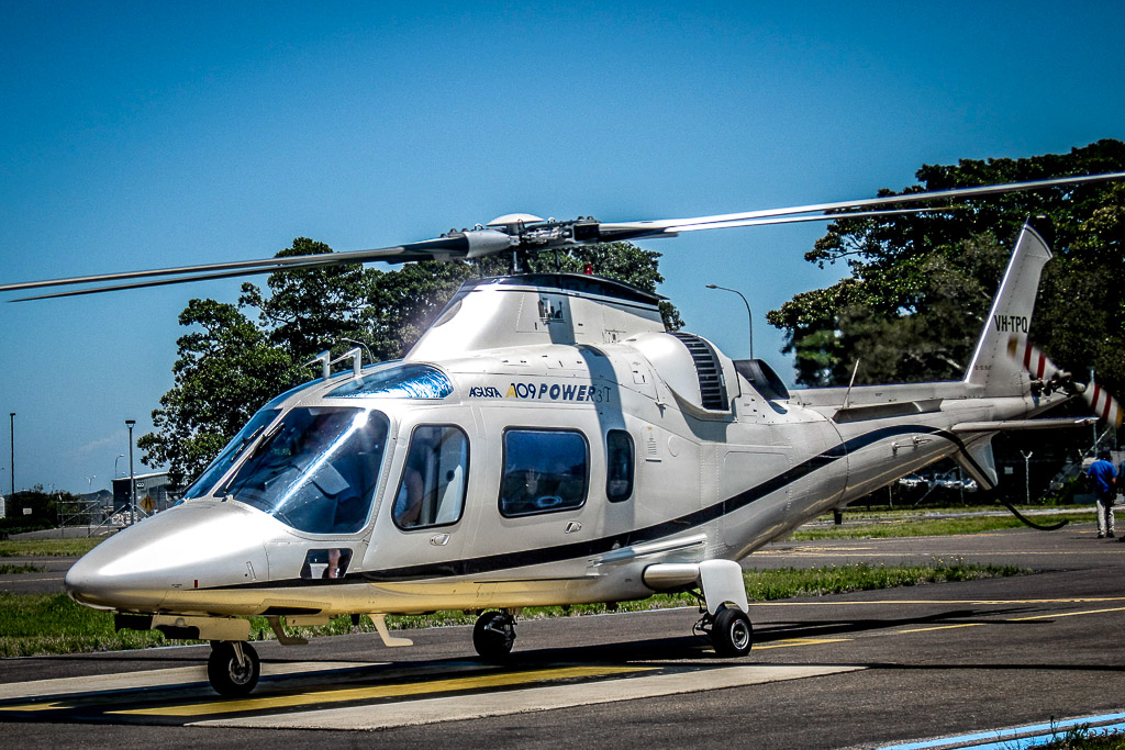 Augusta 109 helicopter with twin engine for corporate charter