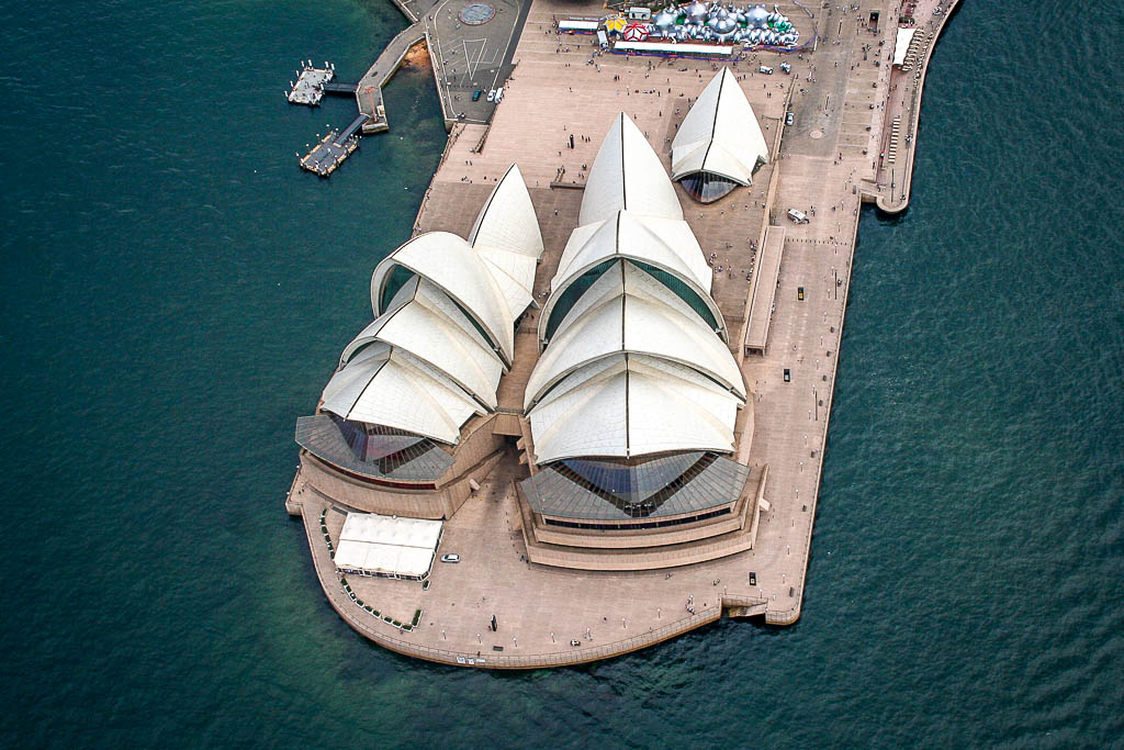 sydney opera house and harbour bridge from helicopter
