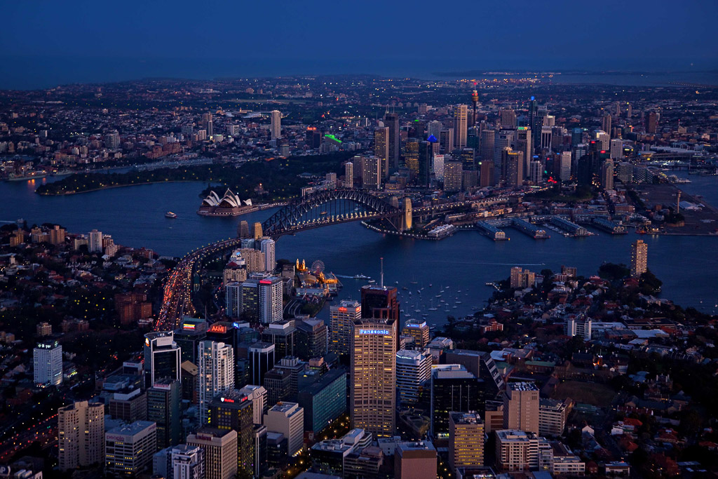 night helicopter photography in sydney